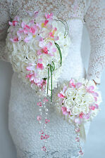 Crystals, artificial Orchid and Roses Shower Wedding Bouquets
