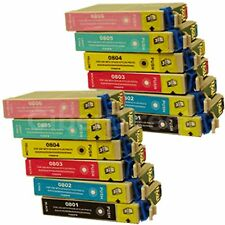 12 Generic Replacements for Epson T0807 Printer Ink Cartridges. UK VAT Invoice.