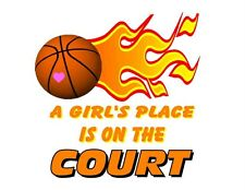 Custom Made T Shirt Girls Place On Court Field Choice Basketball Soccer Sports