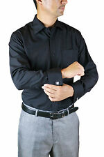 New Amanti Men French Cuff  Dress Shirt  Black Solid  & Free Shipping