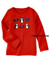 NWT Gymboree WINTER PENGUIN Red Penguin Shirt Top Girls Size 3 7 10 R1259