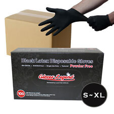 1000 Black Latex Industrial Disposable Tattoos Piercing Gloves - Powder Free