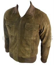 Mens Real Suede Jacket Bomber Tan Brown Smart Casual Fitted Retro Vintage Look