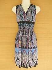 Casual Rayon Blend Smock Beach Party Cruise Summer Sundress Black Blue Paisley