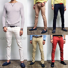 Mens Fashion Vivid Colors Basic Slim Fit Skinny Span Pants, GENTLERSHOP