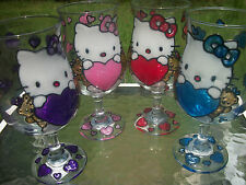 2 Hand Painted Hello Kitty Glasses or Candle Holders in Hearts & Bears or Faces