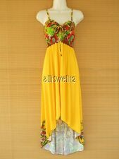 Sexy High Low Beach Party Summer Sundress Yellow Solid Floral Dress