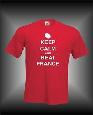 KEEP CALM AND BEAT FRANCE - RUGBY 6 NATIONS MENS FUNNY T-SHIRT