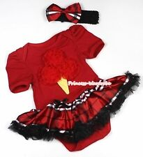 Infant Red Ice Cream Hot Red Jumpsuit Black Red Plaid Baby Girl Dress NB-12Month