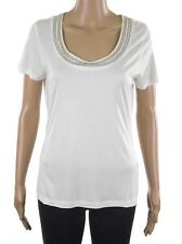 Marks & Spencer Per Una Ivory White Short Sleeve Detail Scoop Neck M&S Tunic Top