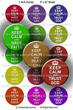 Pre-Cut Bottle Cap Images - Keep Calm In Life 1 Inch Circles