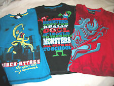 * NWT NEW BOYS MONSTER SKATEBOARD STRIPPED SUMMER BACK 2 SCHOOL SHIRTS LOT 5/6