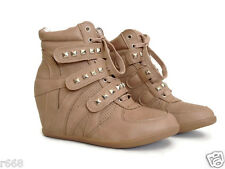 Fashion Women Lace Up Strap High-TOP Sneakers Lady Shoes Ankle Wedge Boots S1005