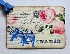 Hang Tags  PARIS BLUE BIRD ROSE POSTCARD TAGS or MAGNET #386  Gift Tags