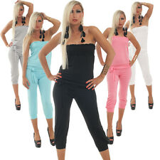 NEW !! SEXY BANDEAU OVERALL JUMPSUIT ANZUG CLUBWEAR 4 FARBEN ONE-SIZE 34-38