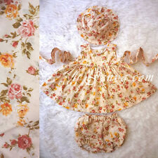 #BS1 HANDMADE Baby Girl Floral Dress Set + Hat + Bloomers, Baby Pink 0-24 Months