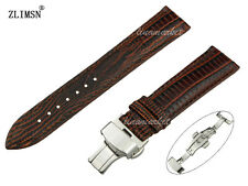 TOP-GRADE MEN BLACK OR Brown LIZARD Grain Genuine Leather Watch Band Strap S105