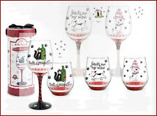 PET PARTY COLLECTION: HAND-PAINTED WINE GLASS / COCKTAIL DRINK GLASS, GIFT BOXED
