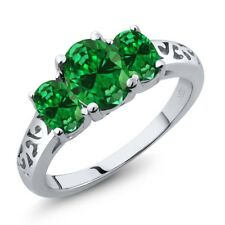 3.46 Ct 3-Stone Oval Green Simulated Emerald 925 Sterling Silver Women's Ring