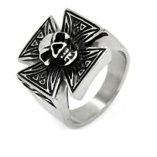 Stainless Steel Skull Center Iron Cross Biker Ring