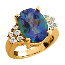 4.37 Ct Mystic Quartz White Sapphire Yellow Gold Plated Silver Ring