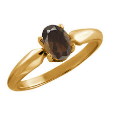 0.75 Ct Oval Brown Smoky Quartz Gold Plated 925 Silver Ring