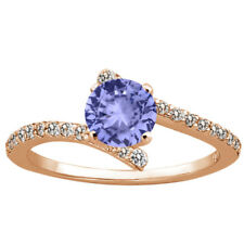 1.24 Ct Round Blue Tanzanite 925 Rose Gold Plated Silver Ring