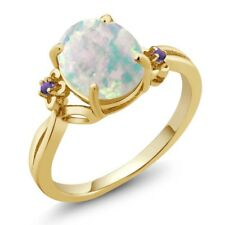 2.16 Ct Oval Cabouchon White Opal Amethyst Gold Plated 925 Silver Ring