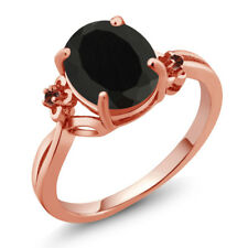 2.23 Ct Oval Black Onyx Garnet Rose Gold Plated 925 Silver Ring