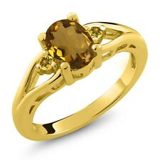 1.22 Ct Oval Whiskey Quartz and Simulated Citrine Gold Plated 925 Silver Ring