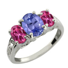 2.50 Ct Oval Pink Mystic Topaz and Tanzanite 925 Silver Ring