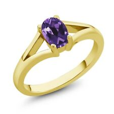 0.75 Ct Oval Purple Amethyst Yellow Gold Plated Silver Ring