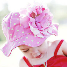 New Girls Baby Toddler Sun Hat Cap with flower Wide Brimmed Boutique 3 Color