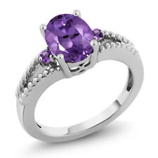 1.60 Ct Oval & Round 3-Stone Purple Amethyst .925 Sterling Silver Ring