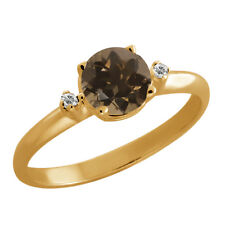 0.82 Ct Round Brown Smoky Quartz Sapphire Gold Plated 925 Silver Ring