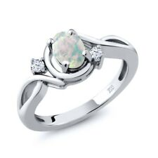 0.68 Ct Oval White Simulated Opal and White Topaz 925 Sterling Silver Ring