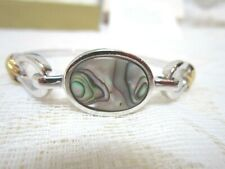 1976  Avon Abalone Bracelet New Old Stock Silvertone With Goldtone Accents