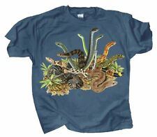 Snakes Adult T-shirt M L XL XXL Blue Graphics on Front and Back Snake Reptile