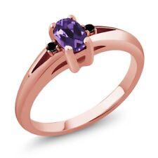 0.49 Ct Purple Oval Amethyst and Black Diamond Rose Gold Plated Silver Ring
