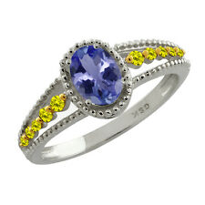 0.92 Ct Oval Natural Blue Tanzanite and Canary Diamond Sterling Silver Ring
