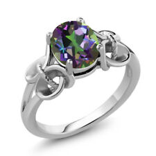 2.30 Ct Oval 9x7mm Green Mystic Topaz 925 Sterling Silver Ring