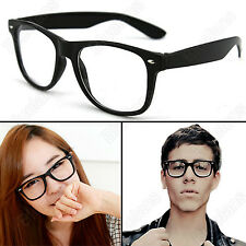 Unisex Mens Womens Fashion Retro Clear Lens Glasses Wayfarer Scholar Eyewear