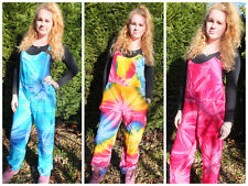 Adult Tie-Dye Dungarees Jumpsuit Overalls Colourful Hippy Boho Festival XS S/M