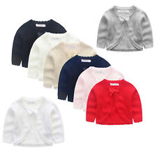 NEW Girls Knitted Cardigan Jacket 000-12Y Black-Red-White-Creme-Pink-Silver-Gold