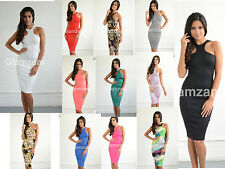New Womens Ladies Glam Cut Out Arm Celeb Towie Midi Bodycon Pencil Party Dress