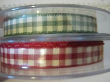 3 METRES X BERISFORDS NATURAL GINGHAM RIBBON-10MM WIDE-CHOICE OF COLOURS-NEW