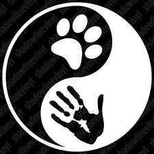 YING YANG Dog Cat Lover vinyl decal sticker PETA Animal Rescue Rights Pet Adopt