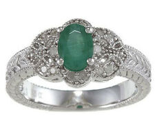 1.25ct Genuine Emerald Diamond Ring Vintage Style in Sterling Silver
