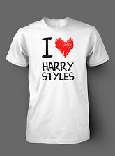 I Love Harry Styles TShirt Drawing High Quality DTG Print - One Direction Heart