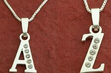 Sterling Silver Initial Letter A to Z Necklace 925 CZ Charm Pendant and Chain